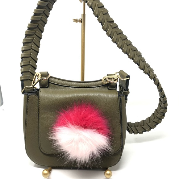 Anthropologie Handbags - Anthropologie Jules Kae Green Zoey Bag Pom Pom